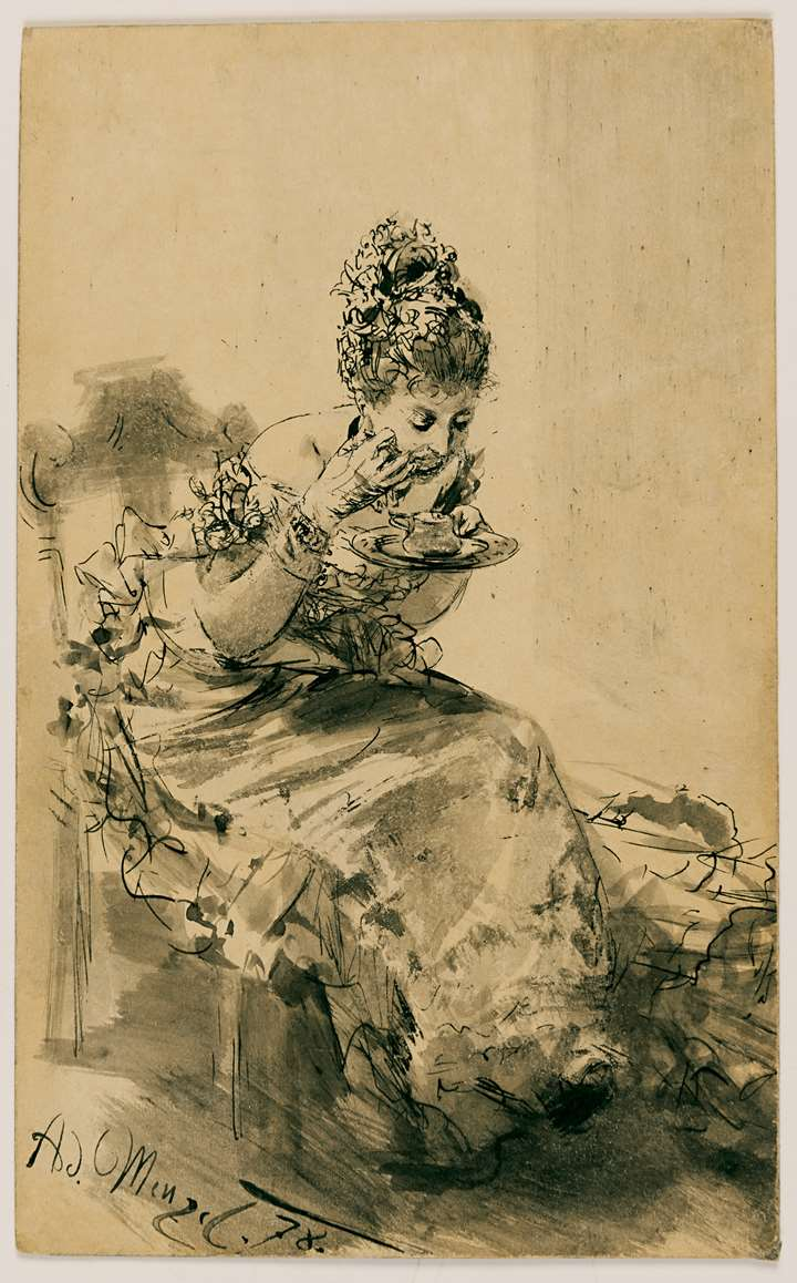 A Seated, Elegantly Dressed Lady Eating from a Plate